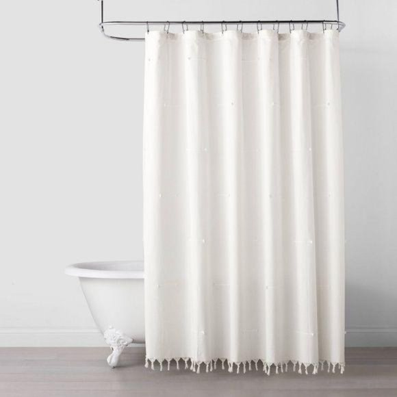Hearth & Hand Stitch Knotted Fringe Shower Curtain